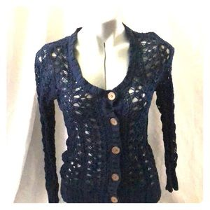 Knitted, navy blue, button down dressy